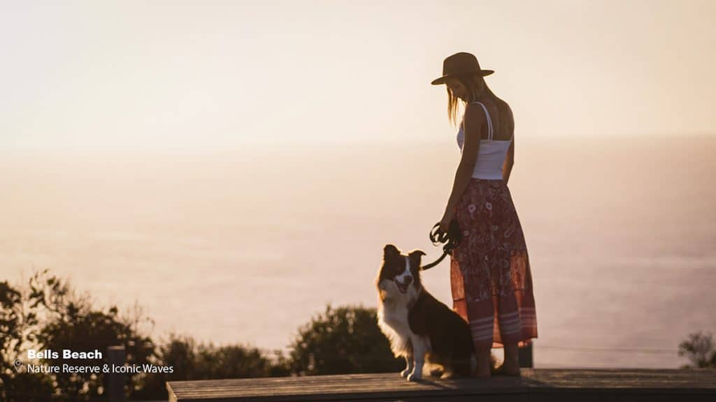 woman with dog at great ocean road